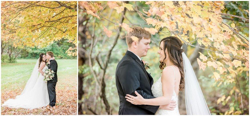 Fall foliage wedding portraits