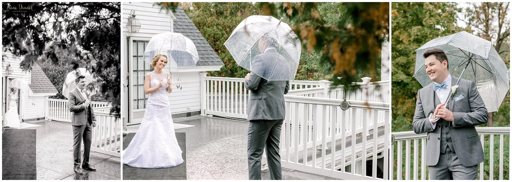 Mallori and James share a rainy first look before their wedding in Southern Maine.