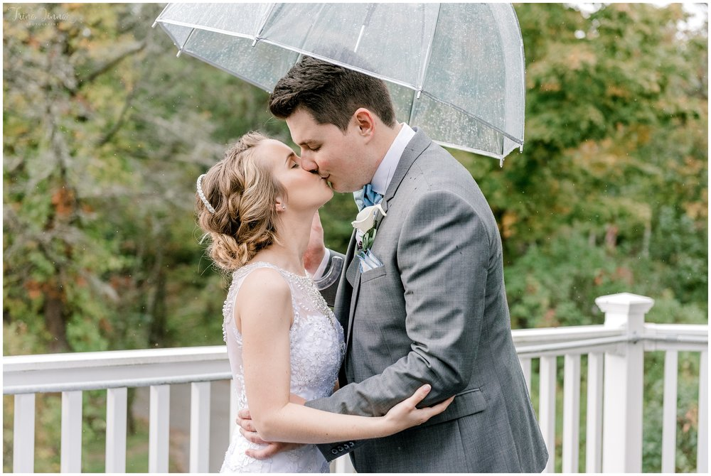 Photo of Bride and Groom's rainy wedding in Maine