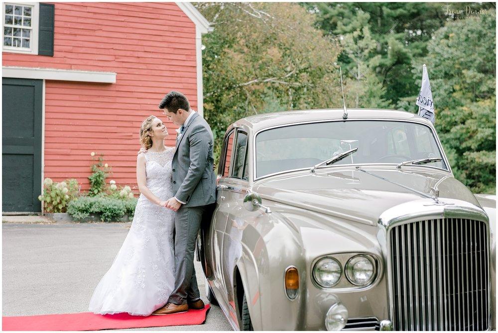 Antique Car Wedding Getaway in Maine