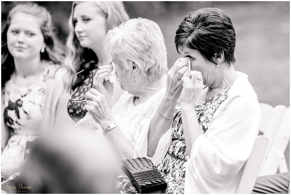 Emotional guests at a York Maine Wedding Ceremony