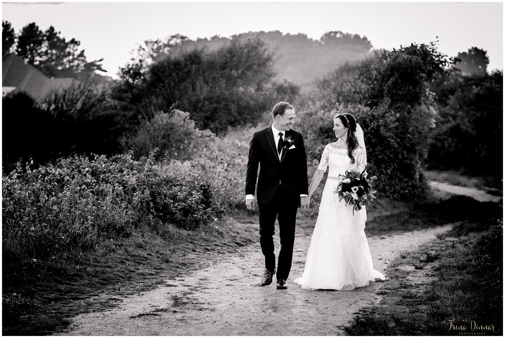 Black and White Southern Maine Wedding Photo