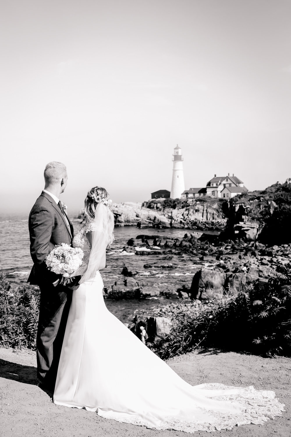 Portland Headlight Wedding Portrait
