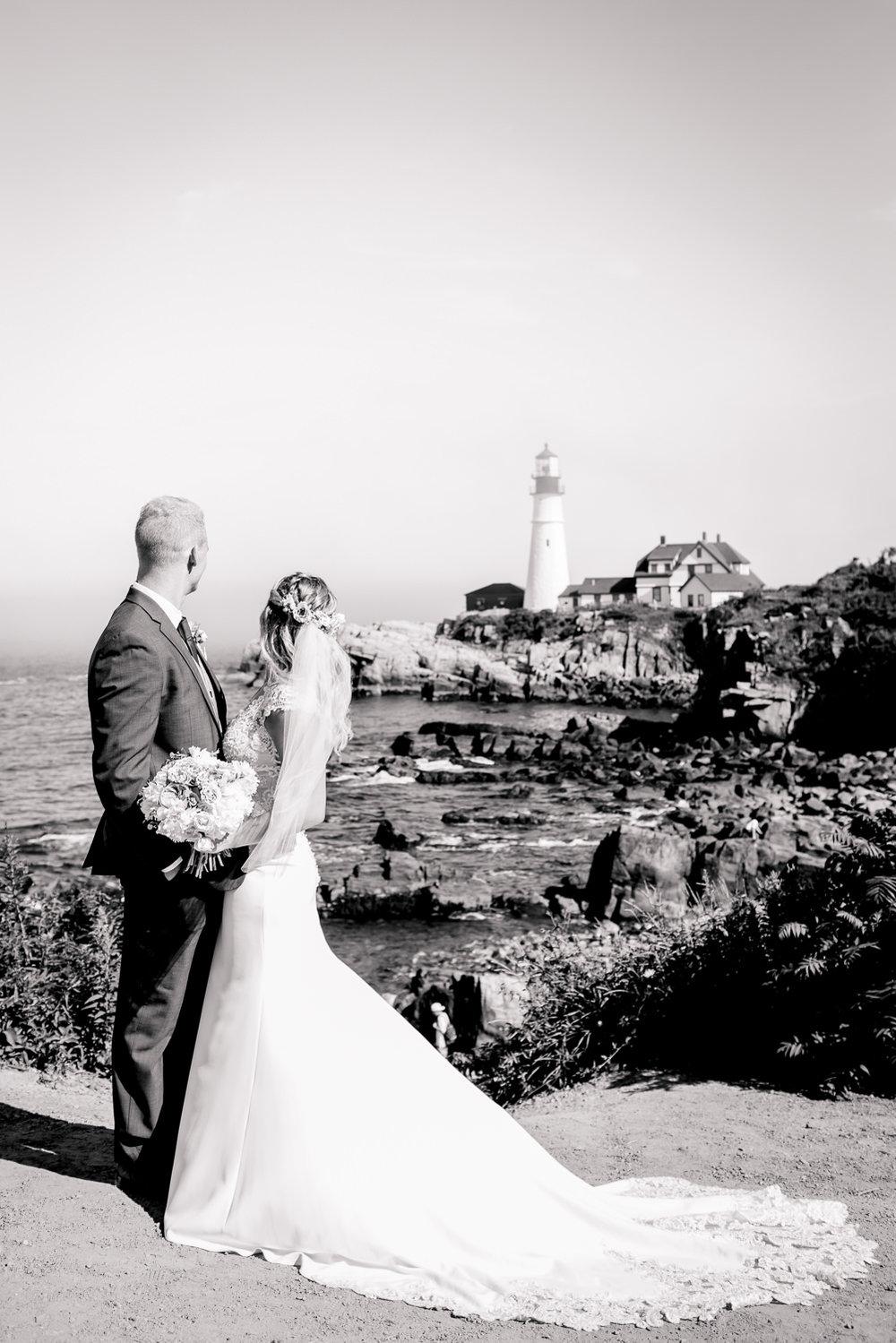 Portland Headlight Wedding Portrait
