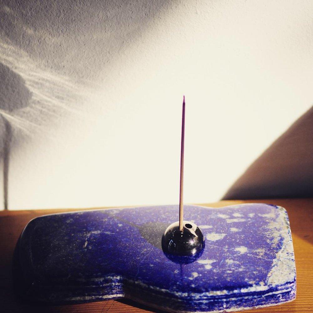 ume incense stick holder metallic grey.JPG