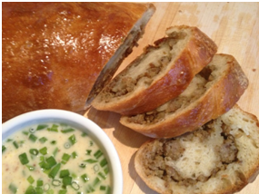 Savory Sausage Bread with GrainyMustard Dip