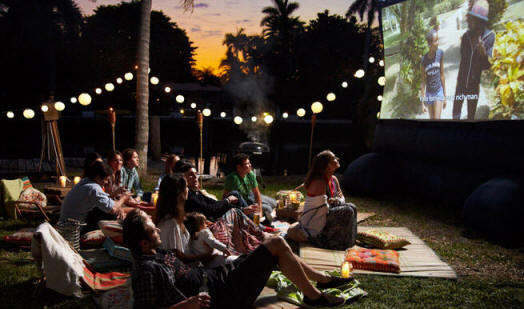 "Screen your fav flicks outside with a ""Movies Under the Stars"" party."