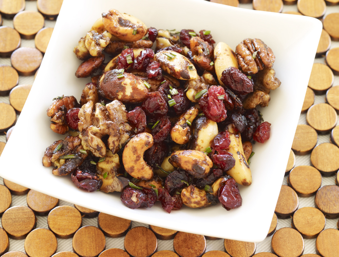 A guaranteed crowd pleaser - my highly addictive Sweet & Spicy Glazed Nuts w Cranberries & Rosemary make a much appreciated  hostess gift or cocktail nibble.