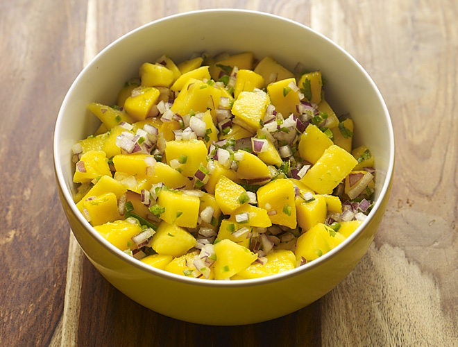 "Macho Mango Salsa is perfect to bring to a friend's party or to serve as a topping for my Pulled Pork Tacos or Spicy Veggie Chili.  Why ""Macho""? This one packs a punch!"