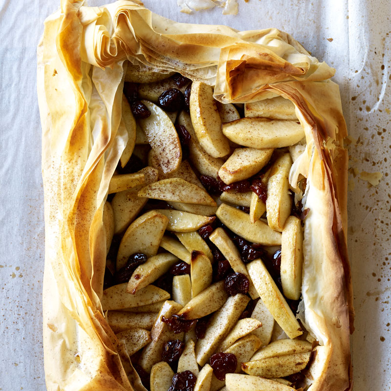 Cardamom Spiced Apple-Cherry Tart:  Don't worry...you don't need to skip dessert!  This so-impressive yet so-simple tart is WAY lighter than traditional apple pie.  Phyllo dough is the secret for a low-fat, crisp crust, with no rolling required.