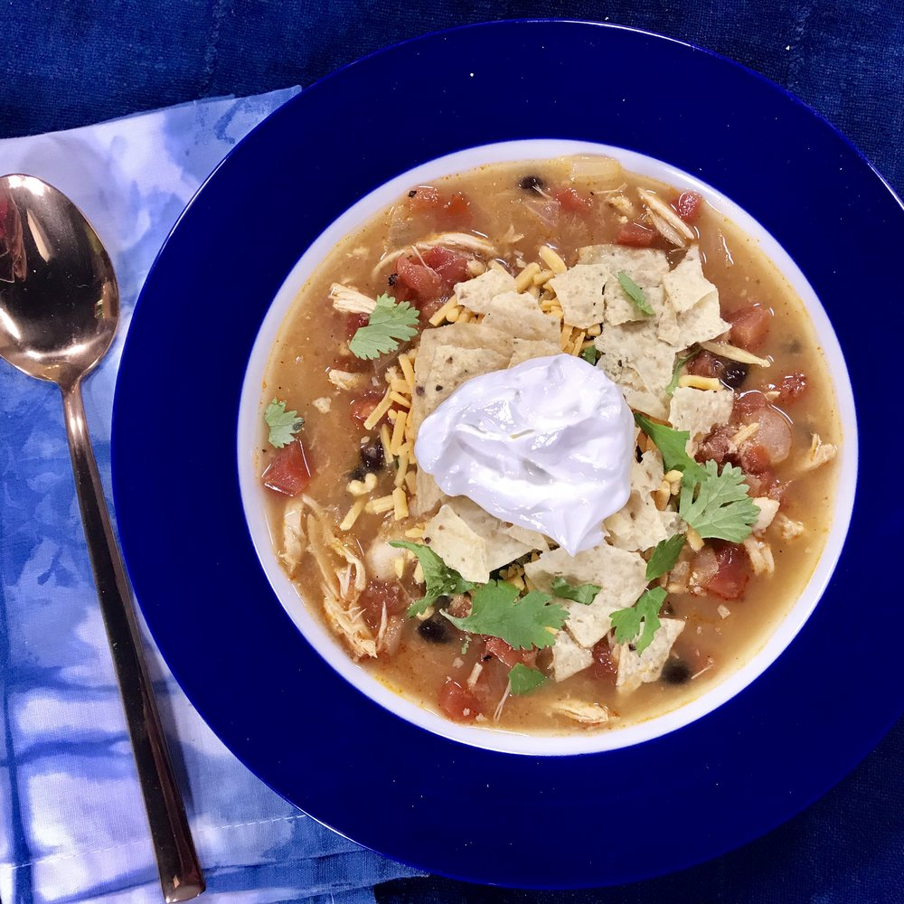 Chicken Tortilla Soup with Cheddar, Sour Cream, & Crushed Tortilla Topping