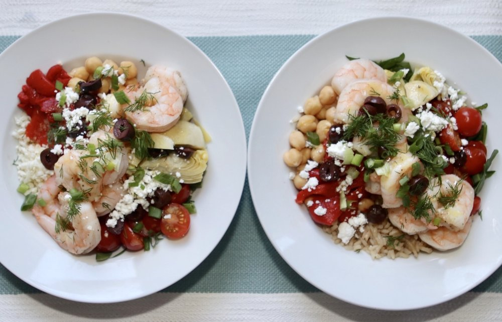 Greek Shrimp & Rice Bowls with Cauliflower Rice or Brown Rice
