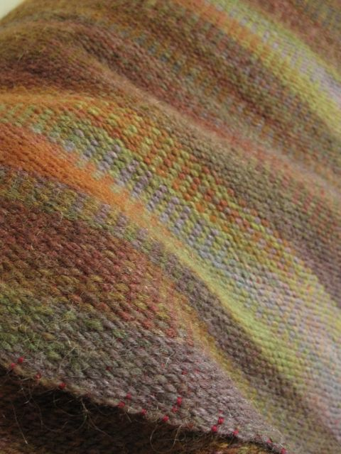 first backstrap woven piece, hand dyed wool warp, dyed in Judith MacKenzie class at GGFI 2010