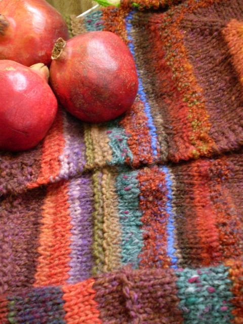 diego sweater in progress, with pomegranates