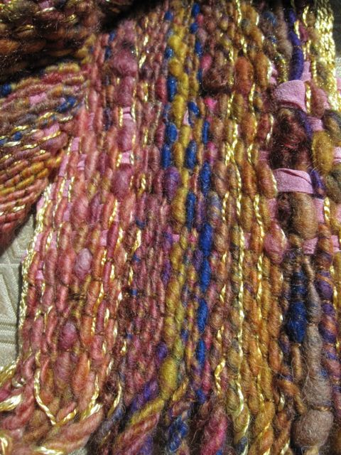 Corespun and Syrian silk warp, dyed silk fabric weft