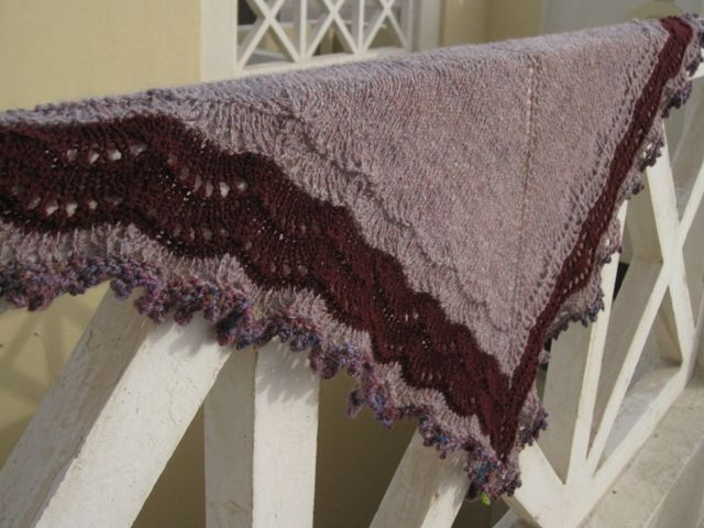Zen shawl exercise: handspun shetland, wool silk blend, Holden pattern