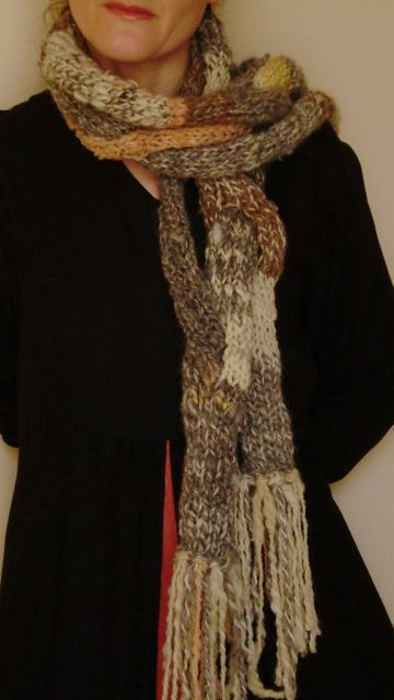 Flower fossil scarf, original pattern, from handspun