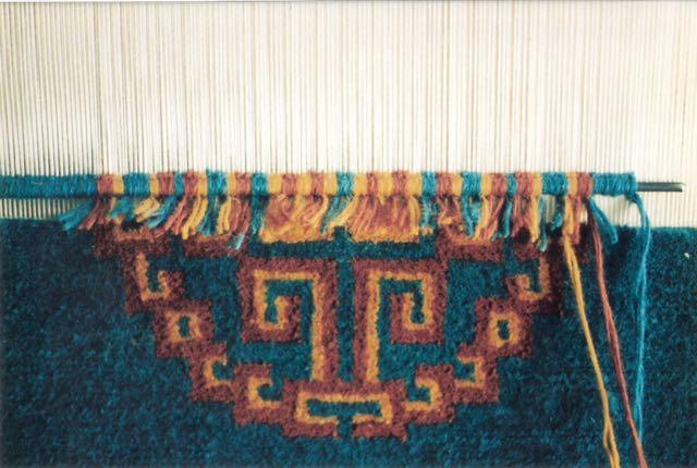 My Tibetan style pile weaving in progress, at the Tibetan Handicrafts Cooperative, McLeod Ganj.
