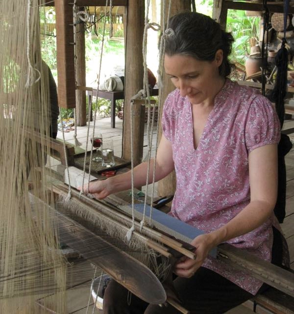 A lesson in Lao supplementary weft weaving at Ock Pop Tok, Luang Prabang.