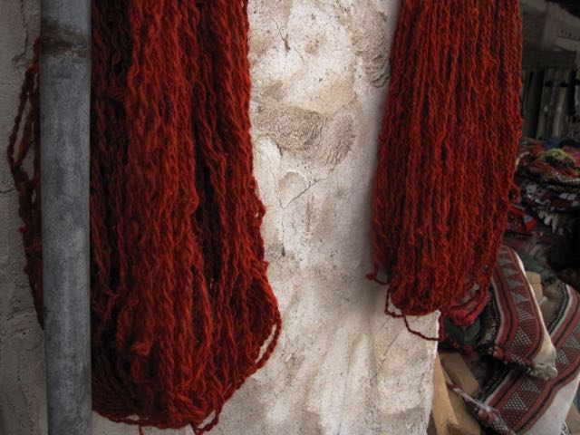 Handspun yarn, spun and dyed in Doha, hanging to dry at Souq Waqif.