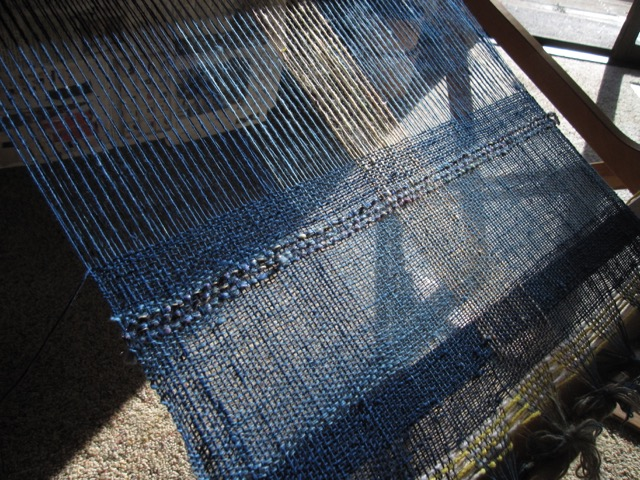 weaving handwoven handspun cotton indigo