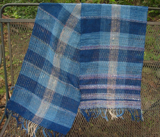 handwoven indigo cotton scarf weaving