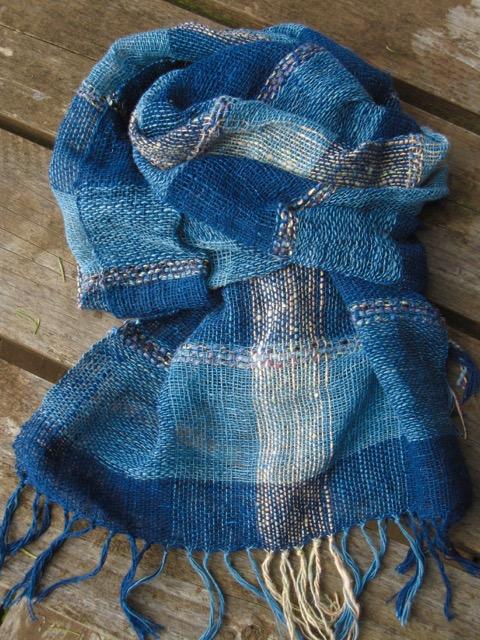 handwoven scarf indigo cotton handspun