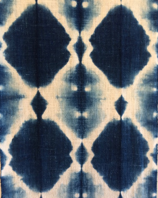 Detail of a cotton scarf dyed in an indigo workshop with Rowland Ricketts