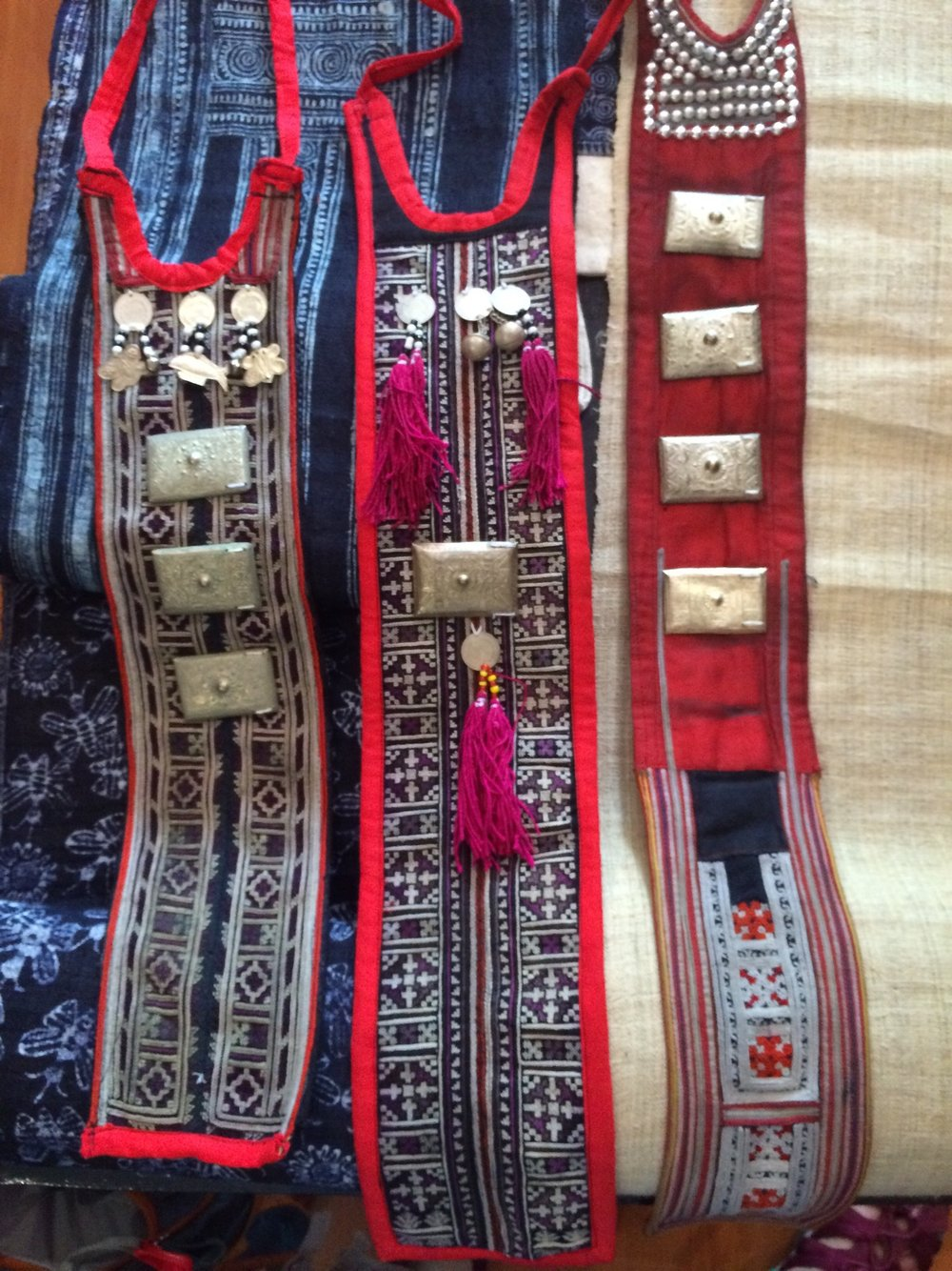 Cravats from the Yao people, with intricate cross stitch embellishment