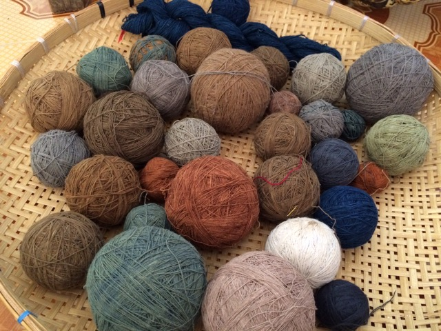 Naturally dyed cotton yarns, wound and ready for backstrap weaving at Mone's place (see The Weaving Sisters on Facebook)