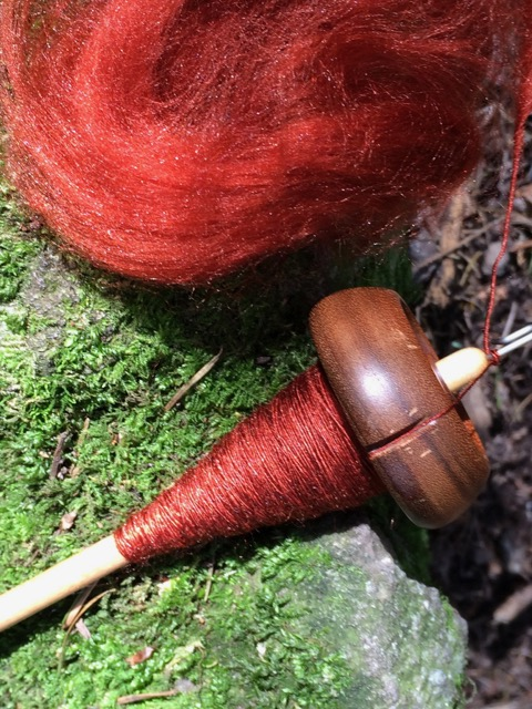 spindle handspun silk tussah