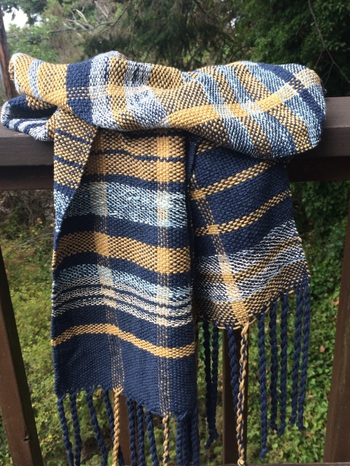 Woven on backstrap loom, light blue stripes are handspun cotton.