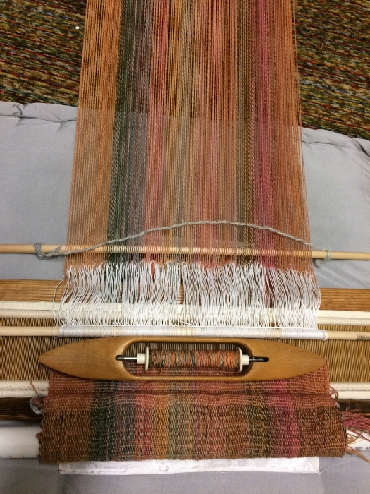 Work in progress. Handspun wool two ply warp, singles weft.