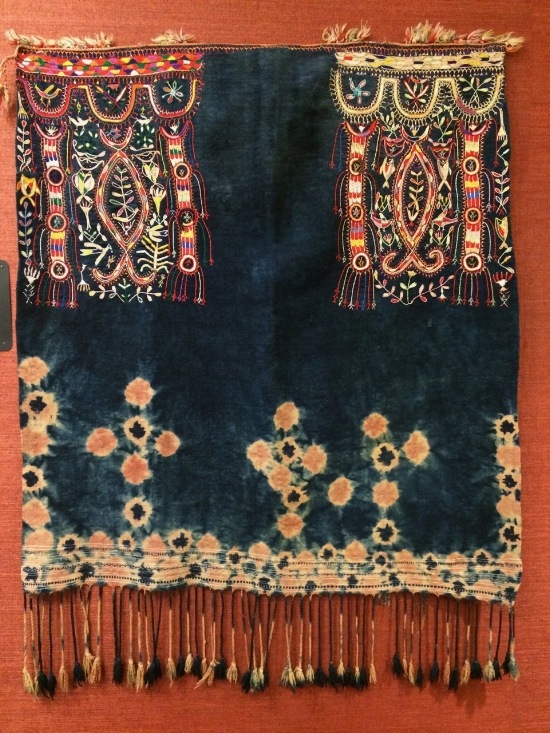 Tunisian wool resist-dyed head cloth, with embroidery.