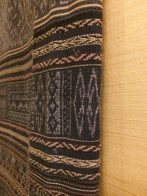 Detail of ikat panel, handwoven sarong from Li people of Hainan, China