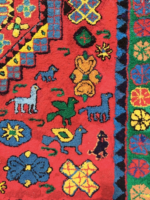 Detail of Aunt Jean's rug, showing black poodle.