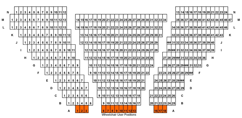 The Shaw Theatre seating plan as it is today.