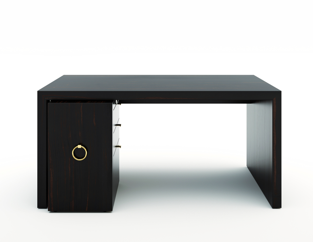 WATERFALL DESK CONSOLE TABLE WITH FILING — CORBETT WRIGHT