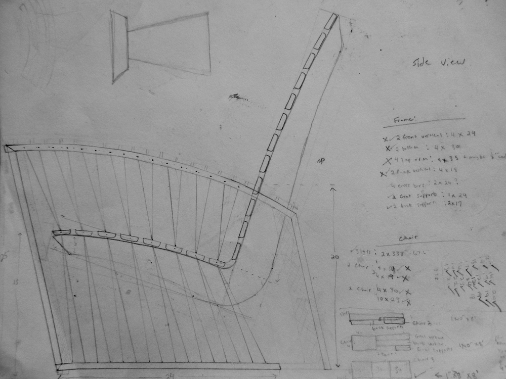 Side Elevation Sketch for Adirondack Chair