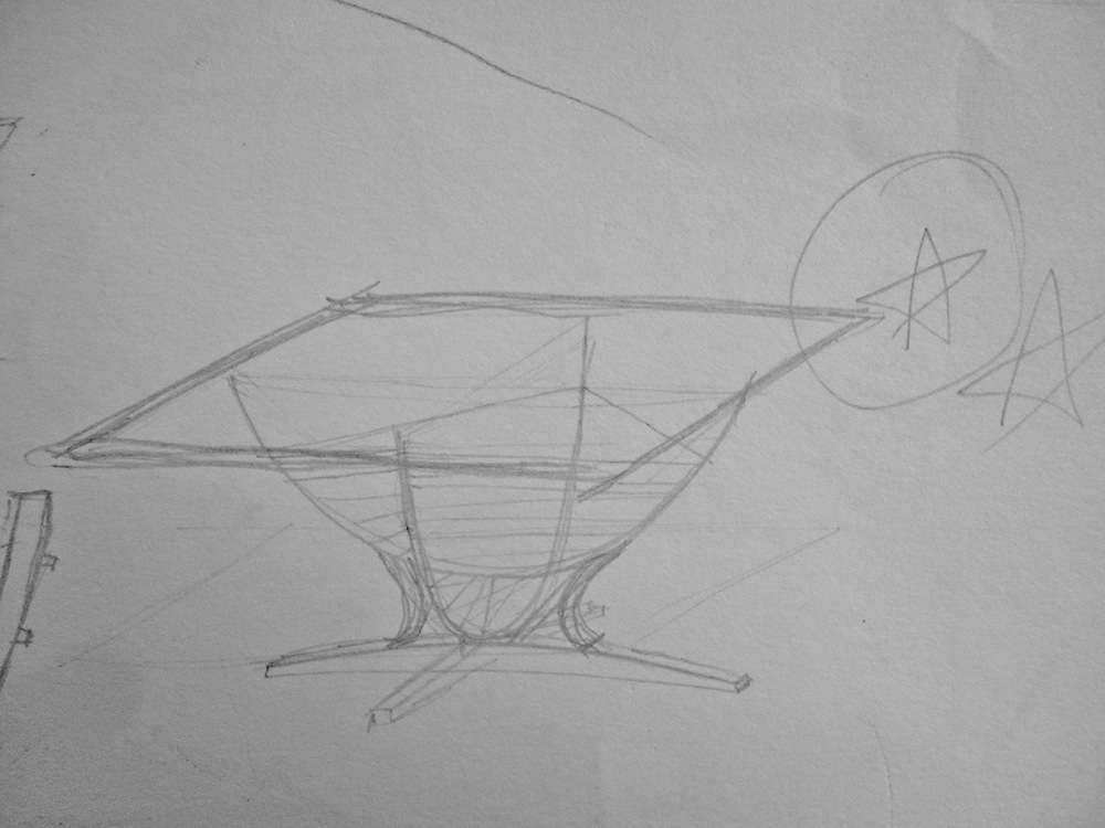 Sketch for Suspended Coffee Table by Robby Cuthbert