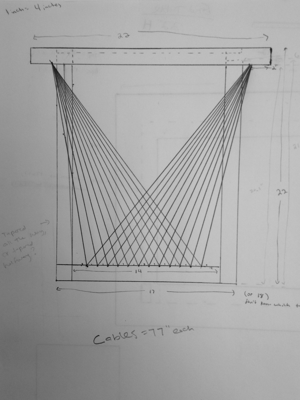A more precise elevation drawing of the table - I use drawing like these to determine proportions and fine-tune the design