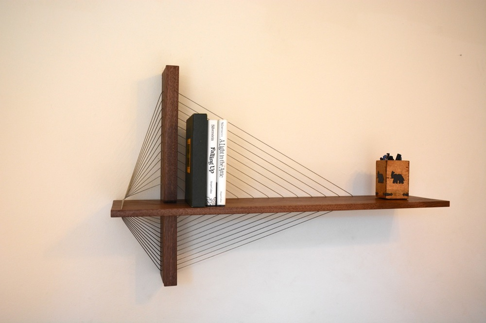 Walnut suspension shelf by Robby Cuthbert