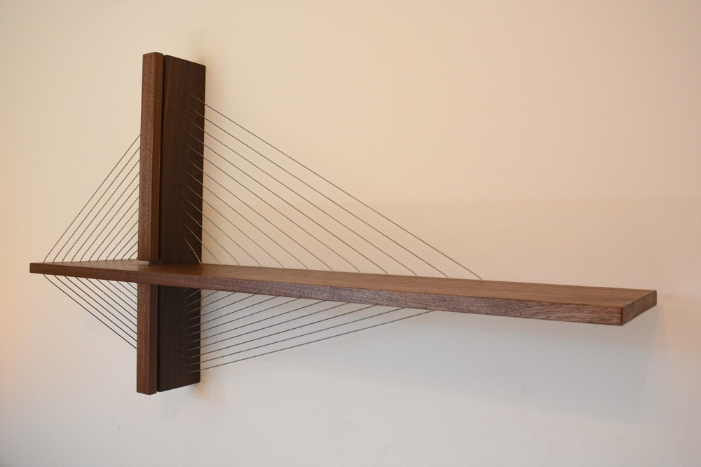 Suspension bridge walnut shelf by Robby Cuthbert