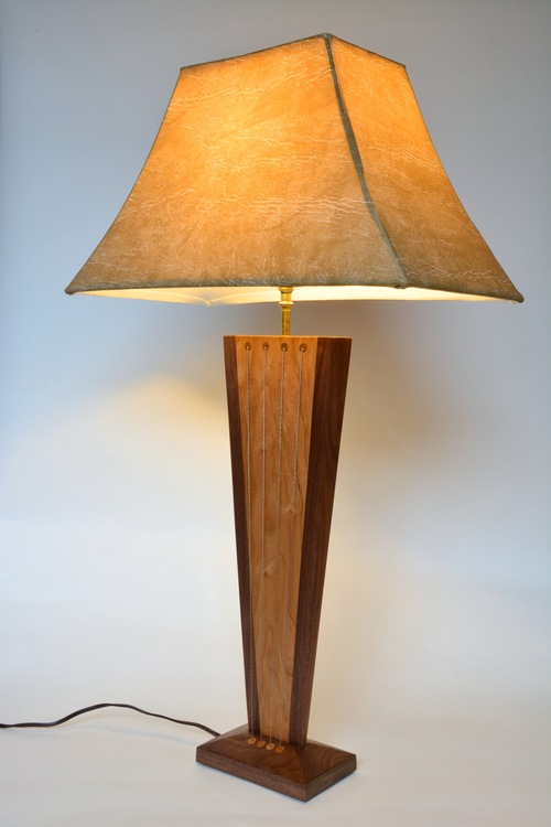 Balance table lamp by robby cuthbert walnut and cherry modern lamp