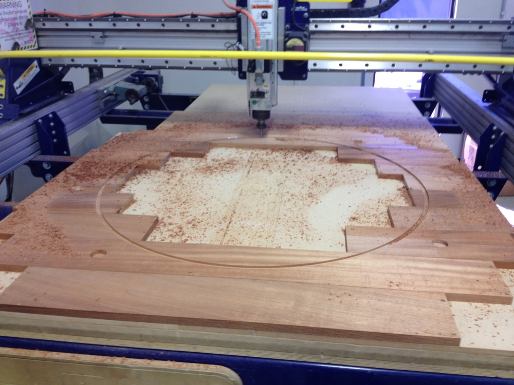 The Shopbot beginning to cut the top ring layer.