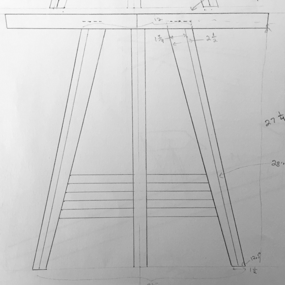 Drawing for the second end table prototype.