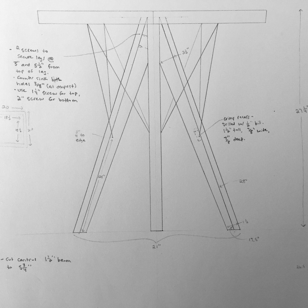 The final drawing for the Pinnacle End Table.