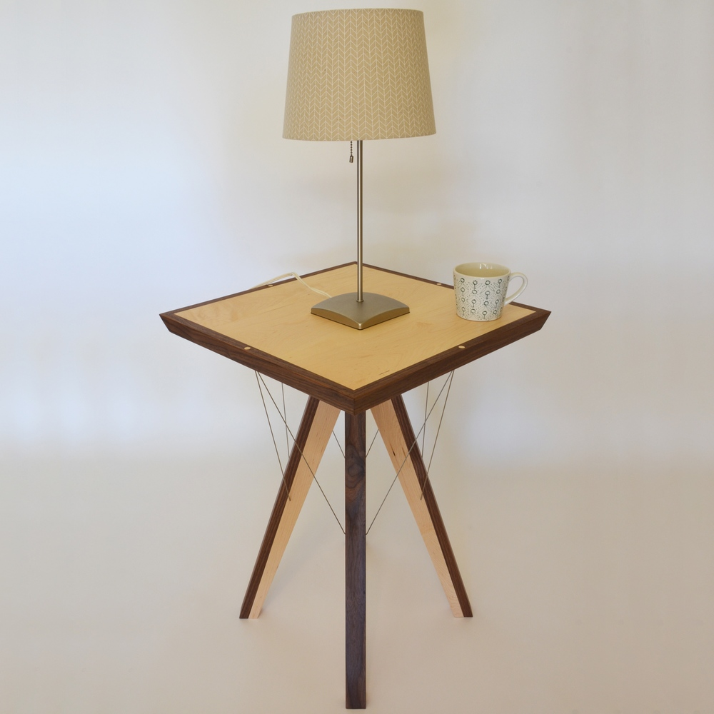 Pinnacle End Table by Robby Cuthbert with lamp