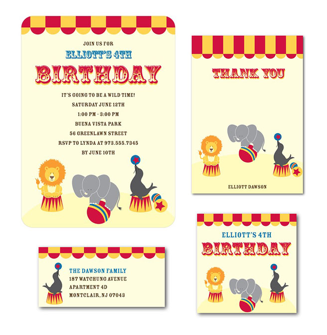 Circus Kids Birthday Invite for Tinyprints