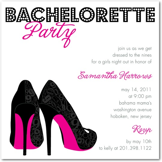 Bachelorette Invite for Wedding Paper Divas